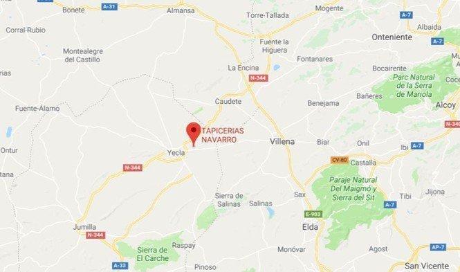 Localización de Tapicerías Navarro en Yecla