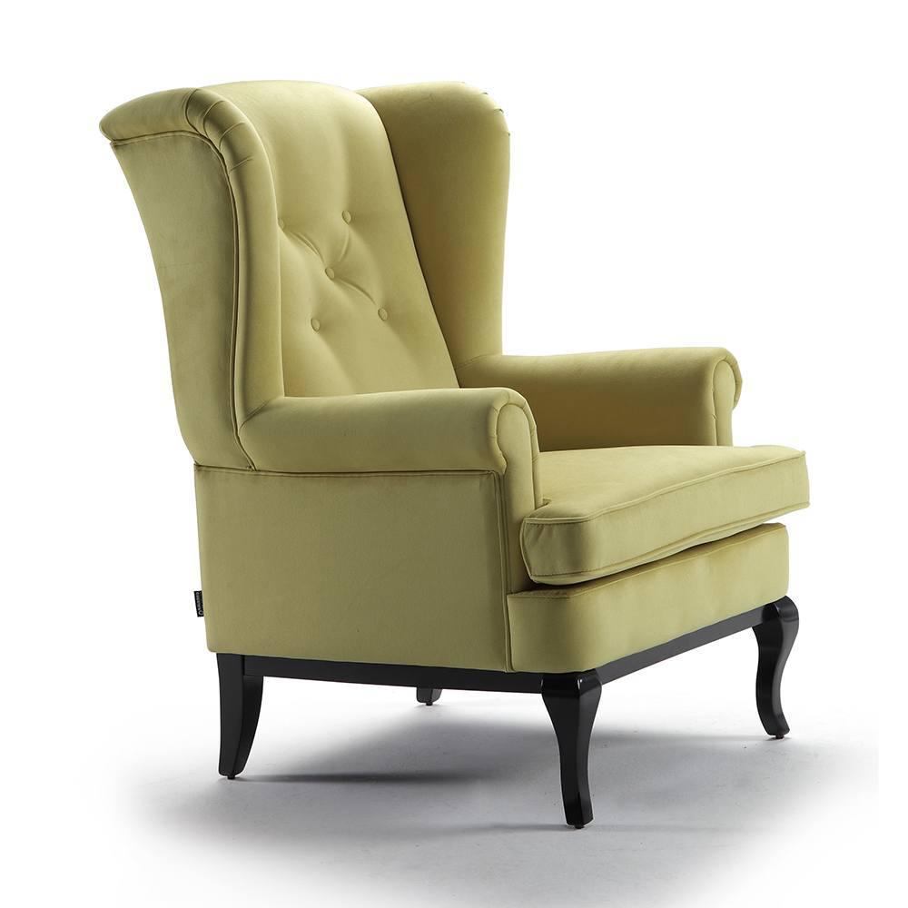 sillón relax de color verde con patas de madera
