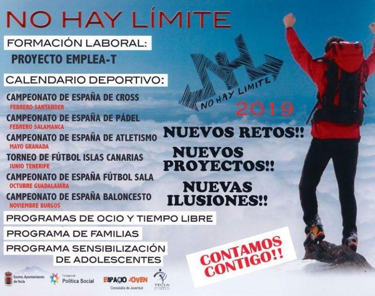 Cartel actividades 2019 NO HAY LIMITE YECLA